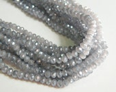 Wisteria Dusty Lavender light AB faceted glass rondelle opalescent beads 4x3mm full strand PEGLA-F05-1