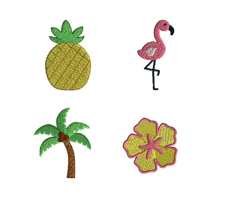 Mini tropical machine embroidery design set instant download