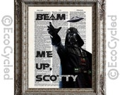 Darth Vader Beam Me Up Scotty on Vintage Upcycled Dictionary Art Print Book Art Print Repurposed Recycled Star Wars Star Trek Harry Potter
