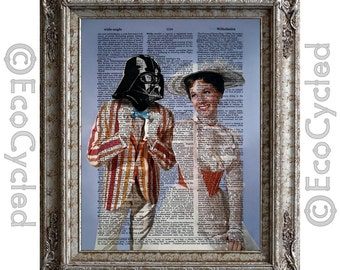 Mary Poppins with Darth Vader Vintage Upcycled Dictionary Art Print Book Art Print Recycled Star Wars Romance Mary Poppins Print Geek Gift