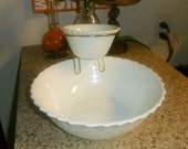 Vintage Milk Glass Chip and Dip Set by Indiana Glass