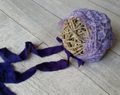Handmade Newborn Lace Bonnet - OOAK - Lilac -