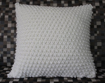 Ivory crocheted textured pillow cover 18x18 inch