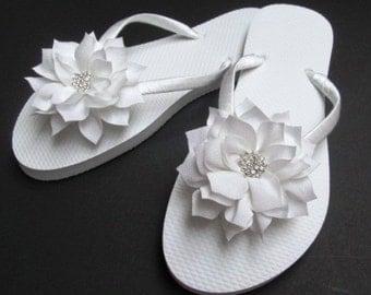 Bride Flip Flops  Wedding Flip Flops  Bridal Flip Flops