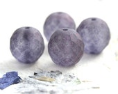 14mm beads, Dusty Montana Blue Matte finish, Fire polished, czech glass beads, large round beads, faceted, ball beads - 4Pc - 2582