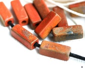 Terracotta ceramic beads, Rectangle, Rust, Grey, Tube beads, long Greek Ceramic beads for leather cord - 17x6mm - 10pc - 2302
