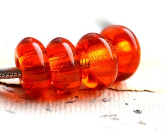 Dark orange beads, Large hole glass beads, czech glass, 6mm hole, fit all European Charm Bracelets - 16x8mm - 4Pc - 2230