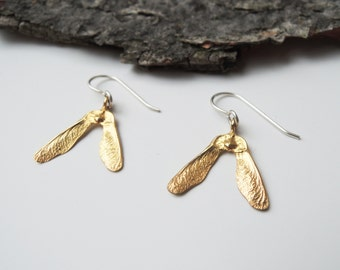 Golden Delicate Samara Seeds Dangle Earrings - Helicopter Maple Seeds - Brass Bronze Gold Plated 14K Solid Gold 10k Solid Gold 14k