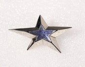 MUGLER 90's Silver Plate Brooch Faceted Glass Stylized Star