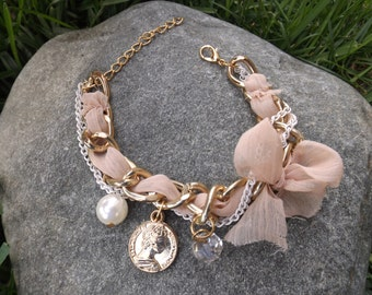 Gold Bracelet with Pink Ribbon and Charms