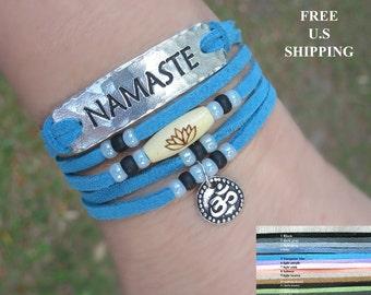 Namaste Faux leather wrap, Lotus, Om, with Silver wrap, Boho, chic wrap, Yoga wrap, Yoga bracelet, Reiki, lotus bracelet, om bracelet