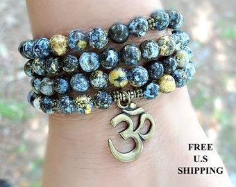 108 mala, Ocean Jasper, Yoga bracelet, Mala Bracelet, Necklace, Reiki, Buddhist Rosary,Prayer beads, Gemstone, wrist mala, om, ohm, aum mala