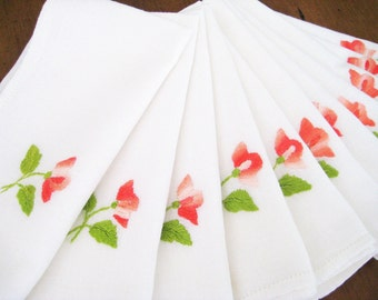 11 Vintage Napkins, White Cotton Linen, Embroidered Peach Flowers, Hemstitched GORGEOUS