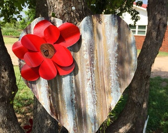 Rustic heart with red flower