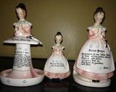 REDUCED!! Vtg Enesco Pink Prayer Lady - Napkin/Letter Holder, Figurine, Spoon Holder