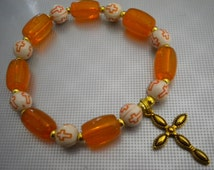 Crosss Stretch Bracelet Orange Cane Glass Stretch One Size Fits Most Cross Religious Catholic Size 7 Lead Nickel Free MS Remembrance Support