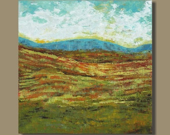 SALE abstract art, abstract painting, large art, abstract landscape expressionist landscape fields mountains prairies clouds, 30x30