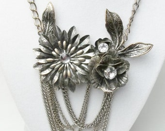 Flower Collage Rhinestone Vintage Necklace Tiered Design Costume Jewelry