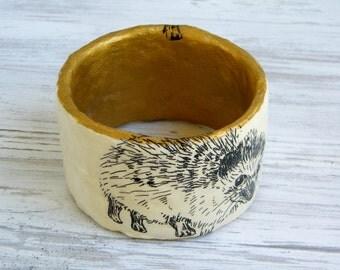 Bangle bracelet / hedgehog jewelry / Upcycled Paper Mache Bracelet  / Golden bracelet / Woman's Gift