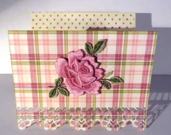 "Handmade ""rose"" birthday card with matching envelope."