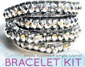 DIY KIT leather wrap bracelet kit: silver beads, silver leather, supplies & tutorial