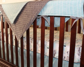 Indian Summer and Aqua Herringbone Crib Bedding Ensemble