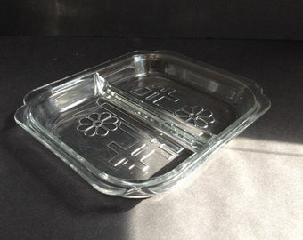 A Pair of Glass Divided Serving Trays