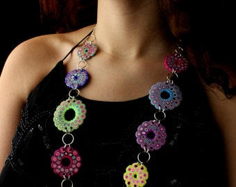 Polymer Clay Necklace Rose Windows