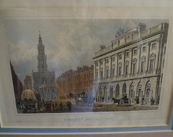 "English Print or Engraving ""Somerset House, Strand"" Plate XI"