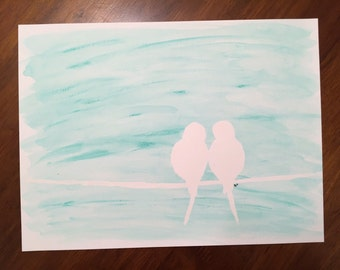 Watercolor Painting - 2 Birds on a Wire