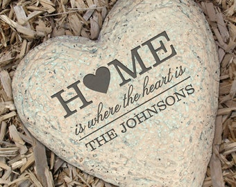 Engraved Personalized Home is Where the Heart is Garden Stone