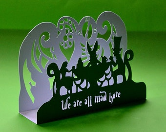 Mad Hatter's Tea Party Card, Paper Cut Card, Alice in Wonderland Card, Quirky Greeting Card