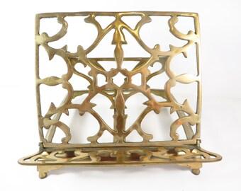 Vintage Brass Book Art Adjustable Stand - Brass Adjustable Book Rack
