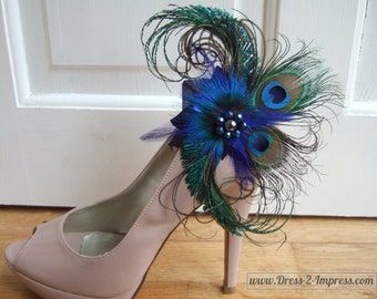"""Peacock Feathers Royal Navy Blue Green Crystal Shoe Clips """"Yasmin"""" (Pair) Woodland Winter Wedding Mother of the Bride Christmas Party"""