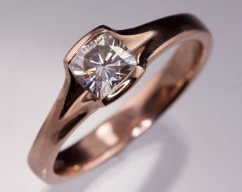 Cushion Moissanite Fold Half Bezel Solitaire Engagement Ring, recycled Rose Gold, Forever Brilliant Moissanite Ring, Select your Moissanite