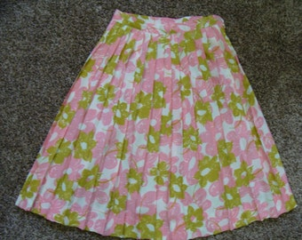 PINK AND GREEN pleated skirt 1960's 60's mad men S 25 waist