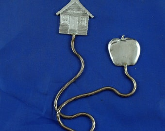 Bookmark Pewter on metal chain Schoolhouse and Apple for teacher