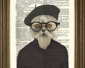 "HIPSTER CAT PRINT: Fun Beatnik Art Wall Hanging on Vintage Dictionary Page (8 x 10"")"