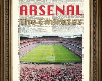 "ARSENAL EMIRATES STADIUM: Football Wall Hanging Print on Vintage Dictionary Page (8 x 10"")"