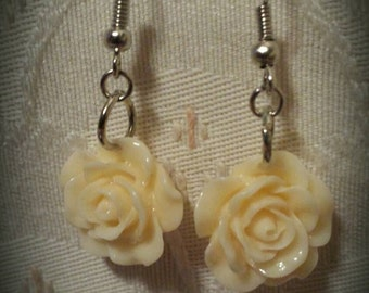 Light Yellow Rose Dangle Earrings