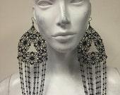 Garnet crystal statement earrings