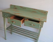 Custom order for Rebecca- Potting Bench, Two Drawers, Solid Green, No bucket or hole.
