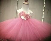 coral  flower girl tutu dress