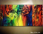 """Original Large Abstract Painting.Modern Acrylic Painting on Canvas.Contemporary Colorful Abstract Wall Art 24"""" x 48"""" Home Decor by Nata S."""