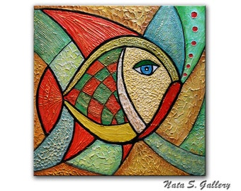 """Original Fish Painting Abstract Textured Art Modern Colorful Artwork Sculptural Wall Art Home Office Decor 24"""" x 24"""" Ready to Ship by Nata S"""