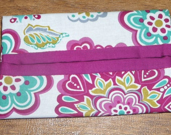 Burgandy Floral Print Fabric Travel Tissue Pouch/Holder