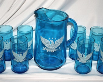 Bicentennial Pitcher and Tumblers, Turquoise Blue, 1976, Excellent Condition