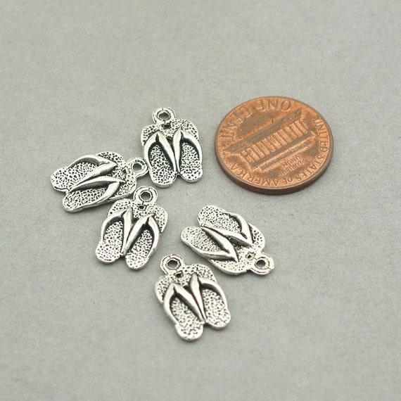 fdd6c15b5303 Flip Flop Sandals Charms BULK order Antique Silver 40pcs zinc alloy beads  9X15mm CM0923S