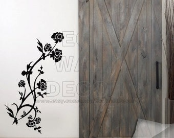 PEEL and STICK Removable Vinyl Wall Sticker Mural Decal Art - Romantic Black Growing Flower