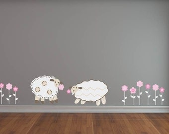 Nursery decals - Wall decal -  Lamb decal - Flowers -  Decal - Girl decals - Vinyl decals -  Children decals